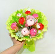 """634 Букет с конфетами и тюльпанами """"Росинка"""""""