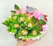 """621-2К Букет из конфет и мишек Тэдди """"Для любимой"""""""
